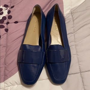 Blue leather flats